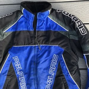 Polaris Snowmobile Jacket Embroidered Blue Racing